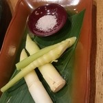 38822367 - 笹竹の子。トリュフ塩でもどうぞって。スゴい香り‼