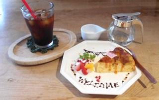 ちょこちょこCafe - さつま芋石畳ケーキ アイスコーヒーセット