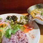 虹の仏 - 2015.6 野菜と卵のパクチーイエローカレー