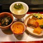 お料理 ほし - 【前菜:葉わさび、長芋羹 ふきのとう味噌 いか和え、ニラ入り玉子】♪2010/5