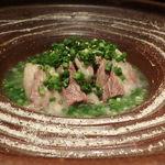 東京苑 - テールスープ 塩をつけて食べる