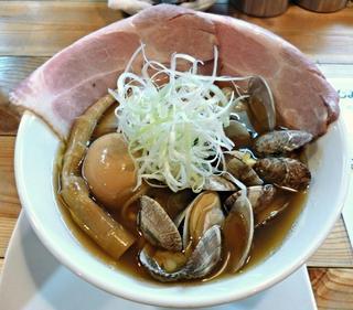 くそオヤジ最後のひとふり - 【あさりらーめん + 煮玉子】¥880 + ¥50