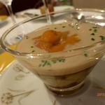 モナリザ - 【夏の園遊会(笑)】宮崎県佐土原ナスと生ウニのクープ オマール海老のクリームと共に