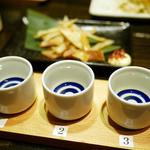 38859723 - きき酒セット ¥880(左から 松の司、百十郎、瀧自慢)