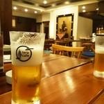 寺カフェ - 生ビールは場所柄黒ラベル