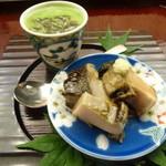 懐石料理 桝田 - 先付(蒸しアワビ、茶わん蒸し)