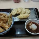 38887011 - 天丼と単品の白身魚とレンコン