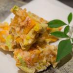 魚匠 梶 - 夏野菜と桜えびのカキアゲ