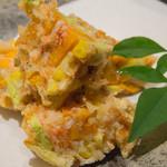 魚匠 梶 - 夏野菜と桜えびカキアゲ