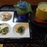 おまかせ料理 つか野 - お昼膳、先付、茶碗蒸し、紫陽花が載っている器はもずく酢です