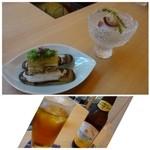 かつえ - ◆車ですので主人はノンアルコールビール、私は烏龍茶です。 最初のお料理は「あげまき貝の寄せ物」と「ブドウと海ぶどうのおろし和え」