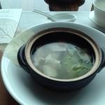 38939281 - 鶏肉とレタス、キノコ入り澄ましスープ