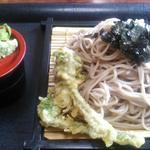 38941663 - ざるそばミニ。6月ですが、こごみの天ぷらがサービス(*≧∀≦*)