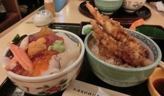 海老善 空港店 - 海鮮丼とエビ天丼セット