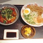 38950551 - ネギカツ丼セット1100円+税(ココいちラーメンは中華そばに変更)
