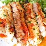 38954781 - 定食ランチA 1000円 の黒豚肩ロースのピッツァイオーラ ~トマト&チーズのオーブン焼き~