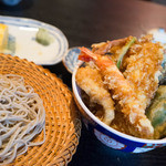 萬人 - 招福天丼と半せいろセット(そば大盛り=ふつう盛り)
