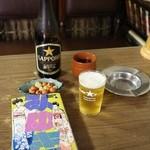 う月食堂 - 瓶ビール中(500円)とみゆき