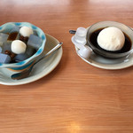 かまだ家 - デザート  白玉と寒天  コーヒーゼリー