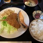 吉兆 - アジフライ&鮭定食