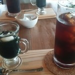 ヒルトコ カフェ - 食後、アイスコーヒーとヨモギのゼリー