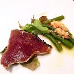カバルッチョベルデ - 炙りカツオのカルパッチョ、いんげん豆の小エビ和え