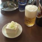 石川屋 - 料理写真:ビール(大)とお通し(サービス)