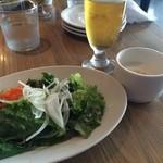 39028043 - 【ランチセット】サラダ、スープ(ジャガイモの冷製スープ)