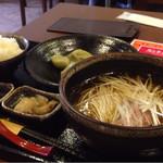 39034657 - 好天風葱汁そばと水餃子のセットd( ̄、  ̄)ご飯つき¥900円〜♪☆