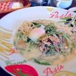 コットン - ポルチーニ茸とほうれん草 とろ~り温卵豆乳パスタ。