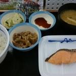 松屋 - 朝定食       ~焼鮭定食  ¥450~   選べる小鉢はミニ牛皿選択