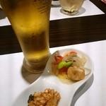 せい弥 - 料理写真:生ビールとお通し(2015/06)