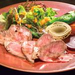 南あわじ美食農園オリザ - 淡路椚座牛のローストビーフ 季節の焼野菜添え