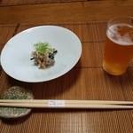 御料理 はやし - 突き出しの『卯の花』!美味しい おからの煮物とビール~♪(^o^)丿