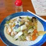 龍影 - 料理写真:海老あんかけ焼きそば&お酢