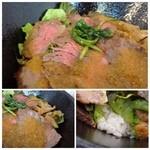NIGIRO CAFE Stella - メニュー写真とは印象が違いますが(苦笑)「鹿児島県産の黒毛和牛」を使用されています。 お肉は薄切りで柔らかいですよ。ジャポネソースの量がもう少し多いといいですね。