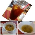 NIGIRO CAFE Stella - プレートランチには「野菜スープ」、ステーキ丼には「お味噌汁」が付きます。 どちらもやさしい味わいですね。