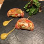 39098753 - スモークサーモンと野菜のテリーヌ パッションフルーツソース  1300円