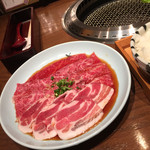 松庵 韓菜房 - 炙り肉。牛と豚。