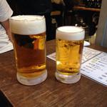 オオモリヤ - 生ビールの大と中の比較(。-_-。)