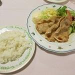 大曲エンパイヤホテル レストラン・ネージュ - 料理写真:・「八幡平ポークの生姜焼きセット(\1290)」
