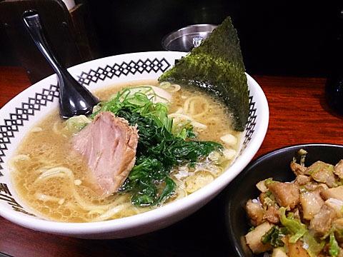 中山堂 - 味玉ラーメン(太麺)とミニチャーシューご飯