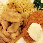 銀座ライオン - この日の日替りスペシャルランチは、豚味噌焼き&カニクリームコロッケ