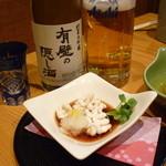 39170675 - 地酒と生ビール、すきやきの前菜(しらこ)