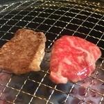 山形牛焼肉 北山 - 片面だけこんがり焼いて、裏返してすぐいただきます!(^O^)