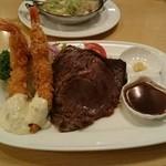 レストラン シラツユ - ステーキとエビフライセット