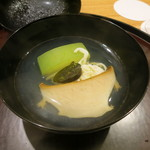 日本料理 太月 - 27年6月 千葉産蒸し鮑・肝、鱧素麺、冬瓜の椀