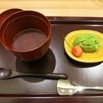 日本料理 太月 - 27年6月 抹茶アイス・サクランボ、冷しぜんざい