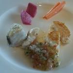 39191369 - スズキとホタテの白身魚と焼野菜をさわやかなドレッシングで