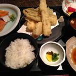 三福 - 日替り膳(お造り3種、穴子の天麩羅、赤出汁、三田米こしひかり)